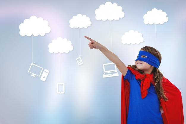 Ein wenig superheld mit technologischen wolken