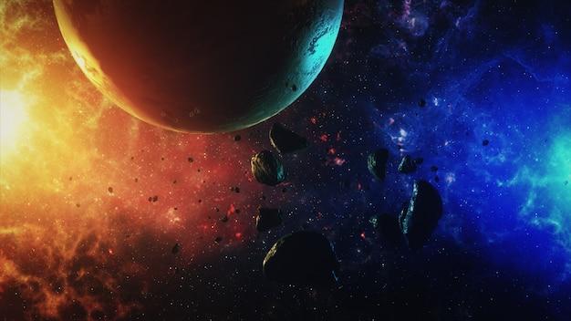 Ein wunderschöner bunter raum mit asteroiden mit geräuschen und einem planeten