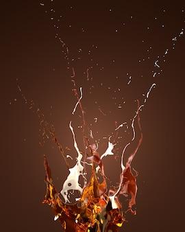 Ein wunderschöner spritzer karamell, schokolade, milch und honig. 3d-darstellung der 3d-darstellung.