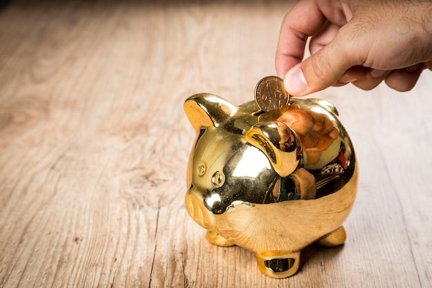 Eine 1-dollar-münze in ein sparschwein stecken