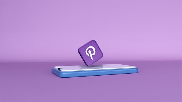 Eine 3d-illustration von pinterest über das telefon