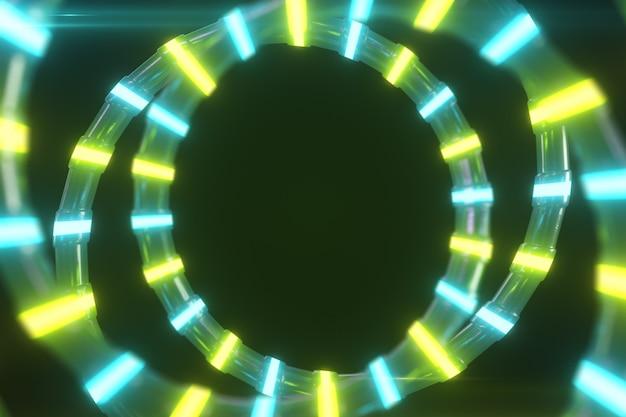Eine abstrakte metallische struktur mit einem neonlicht dreht sich