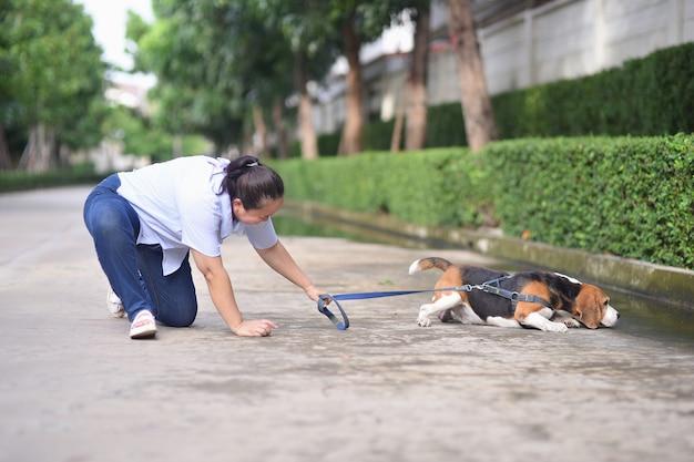 Eine ältere frau fällt beim gehen mit dem hund
