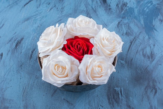 Eine alte schale mit weißen und roten schönen frischen rosen.