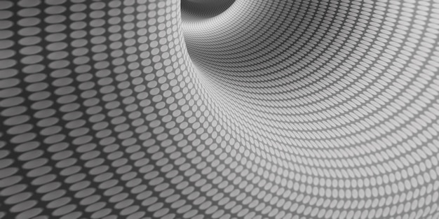 Eine ansicht von schwarz und weiß in einem tiefen kreis platziert ein spiralmuster in einem rohr ein rohr mit einem tiefen vertikalen boden. perspektive der geometrischen hypnose, die unter der 3d-darstellung nach unten fließt