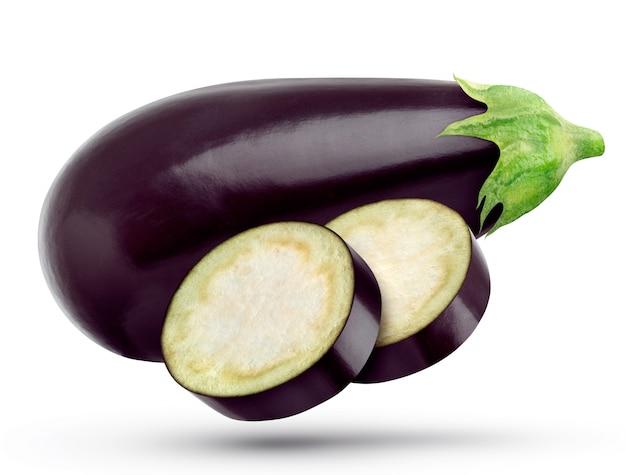 Eine aubergine und auberginenscheiben