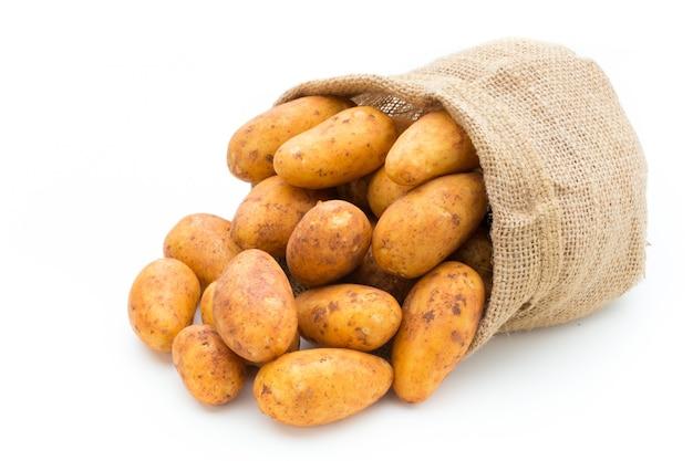 Eine bio-russet-kartoffel isoliert weiß