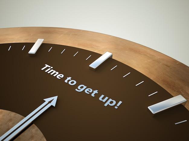 Eine braun-bronzefarbene uhr, bei der der pfeil auf die inschrift zeigt, wann man aufstehen muss