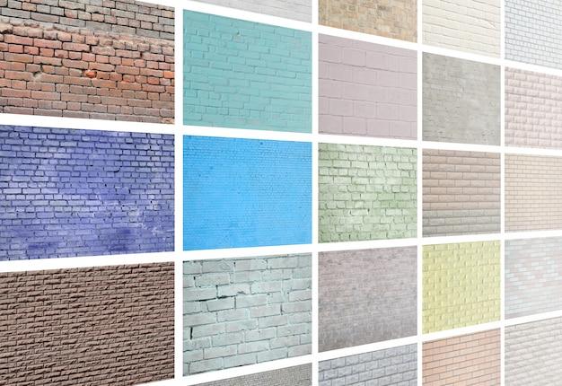 Eine collage aus vielen bildern mit fragmenten von backsteinmauern in verschiedenen farben