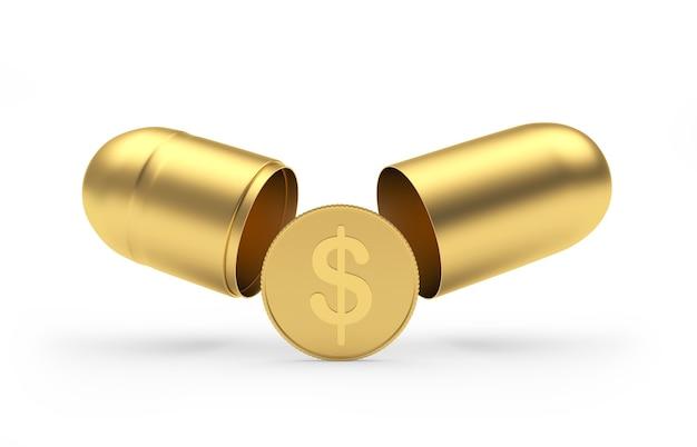 Eine dollarmünze fällt aus einer offenen goldpille