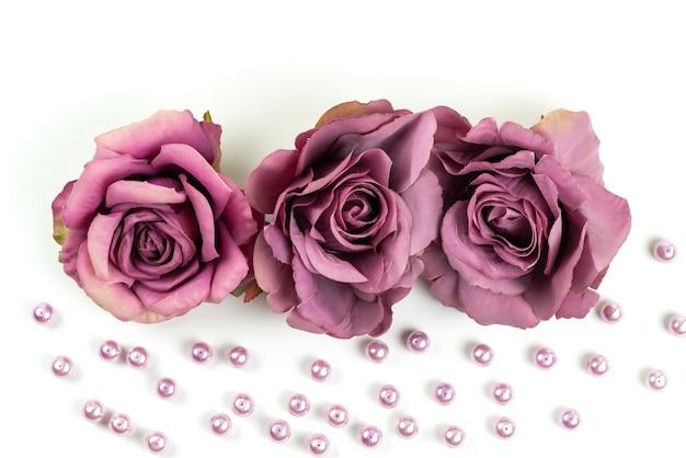 Eine draufsicht verwelkte rosen purpurfarben auf weißem schreibtisch, blumenpflanzenfarbfoto