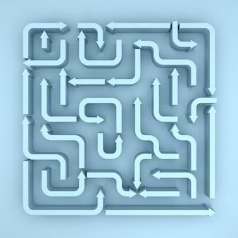 Eine erhöhte ansicht von blue arrows maze. 3d-rendering
