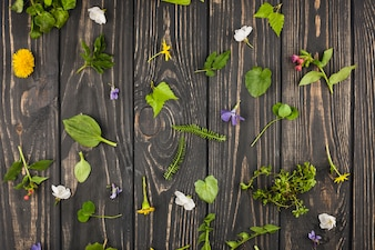Eine erhöhte Ansicht von gebrochenen Blättern und von Blumen auf Holztisch