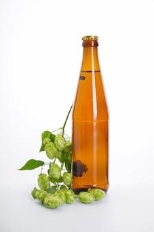 Eine flasche bier und ein hopfenzweig an einer weißen wand.