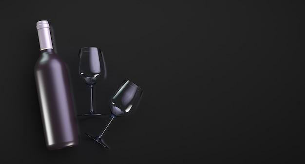 Eine flasche teuren wein und zwei gläser auf schwarz