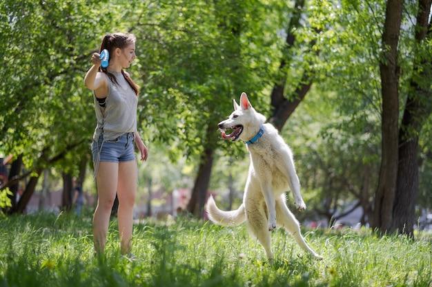 Eine frau bildet einen weißen schweizer schäferhund auf einer wiese aus