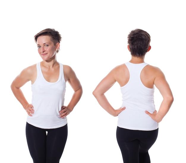 Eine frau im weißen hemd, vorne und hinten isoliert. t-shirt-designkonzept. fügen sie ihre grafiken oder bilder ein