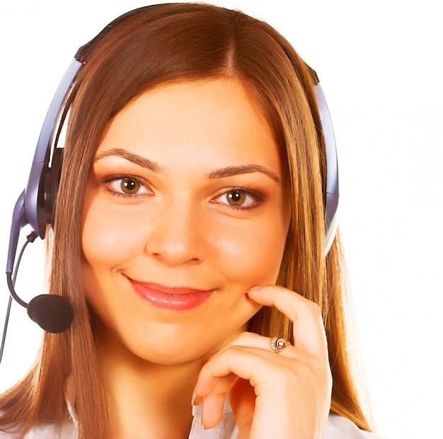 Eine freundliche sekretärin / telefonistin isoliert
