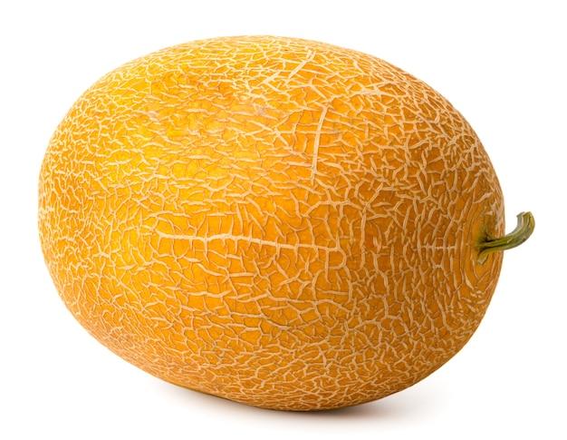 Eine ganze reife melonennahaufnahme auf weiß. mit natürlichem schatten.