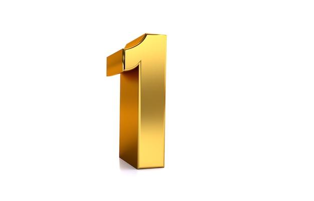 Eine goldene nummer 1 der 3d-darstellung auf weißem hintergrund und kopienraum auf der rechten seite für text am besten für jubiläumsgeburtstag neujahrsfeier new