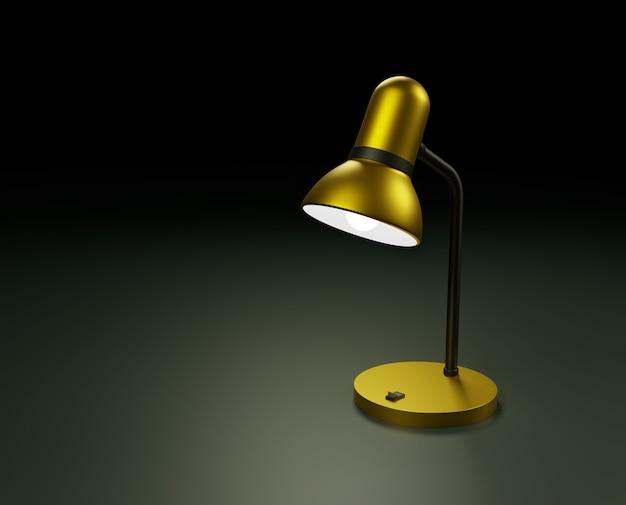 Eine goldfarbene lampe mit einer glatten metalloberfläche beleuchtet einen kleinen bereich