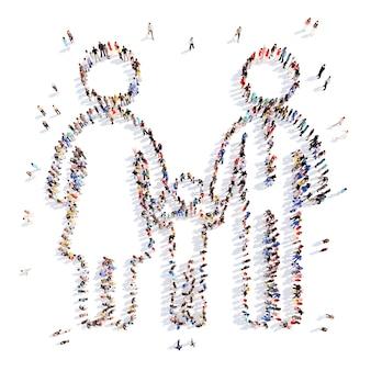 Eine große gruppe von menschen in form einer familie. isoliert