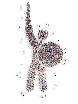 Eine große gruppe von menschen in form eines mannes, der auf weiß isoliert ist