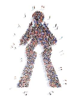 Eine große gruppe von menschen in form eines mannes. isoliert.