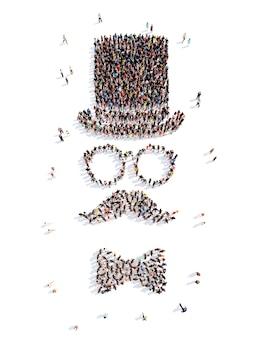Eine große gruppe von menschen in form eines mannes isolierter weißer hintergrund