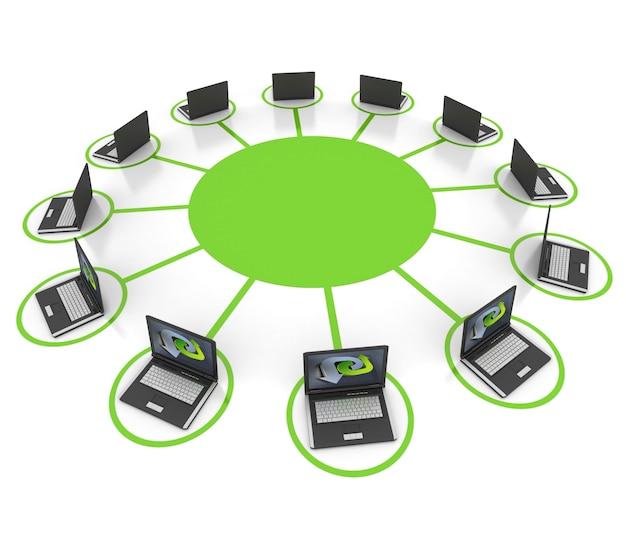 Eine gruppe von laptops, die mit derselben plattform verbunden sind