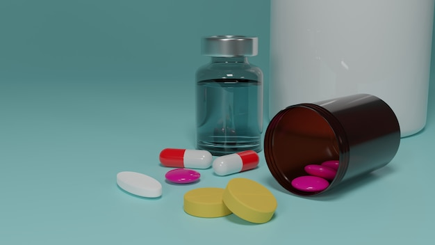 Eine gruppe von medizinpillen auf blauem hintergrund