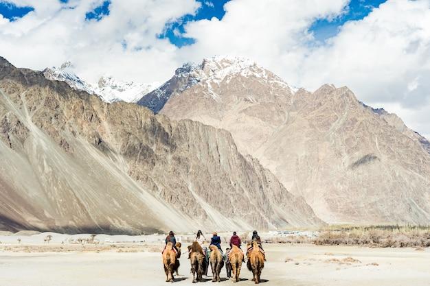 Eine gruppe von menschen reitet gerne auf einem kamel auf einer sanddüne in hunder
