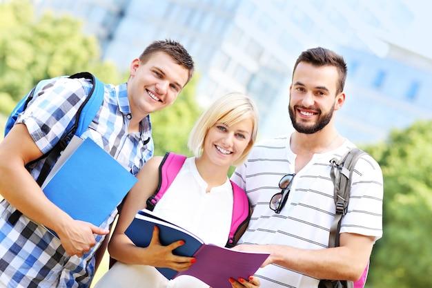 Eine gruppe von studenten, die im park lernen learning