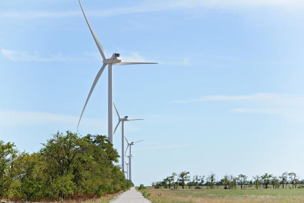 Eine gruppe von windmühlen unter natürlichen bedingungen (wald, feld).