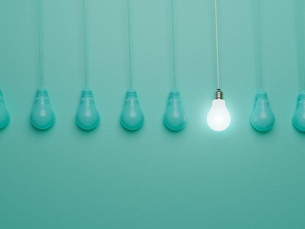 Eine hängende glühbirne, die von anderen glühbirnen auf blauem hintergrund leuchtet, für herausragende, unterschiedliche kreative ideen und innovationskonzepte durch 3d-rendering.