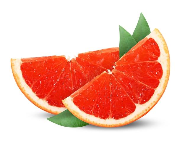 Eine halbe grapefruit auf weiß