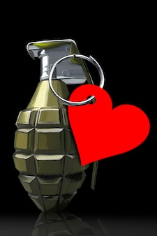 Eine kampfgranate mit einem roten herzen, das an einem ring hängt. das konzept starker gefühle und liebe. schwarzer hintergrund. valentinstag.