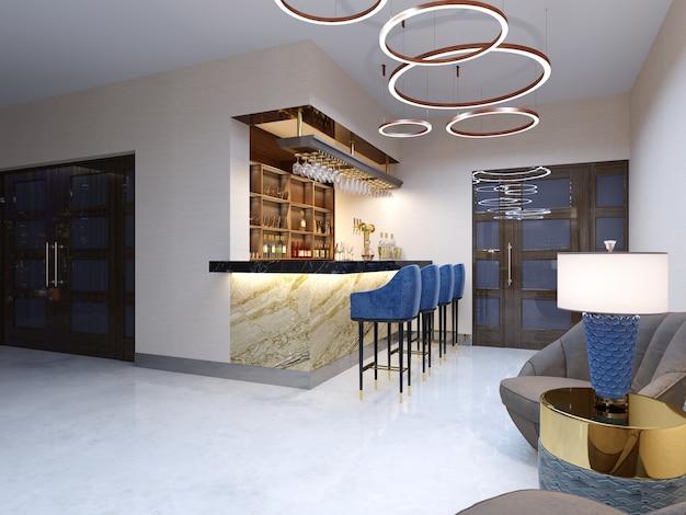 Eine kleine bar im barbereich mit sitzecke. marmortheke mit blauen barhockern und regalen mit alkoholischen getränken. 3d-rendering