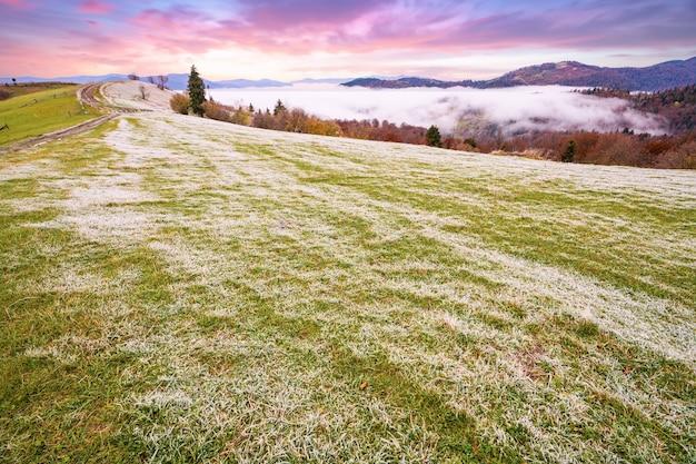 Eine kleine grüne wiese im weißfrost nach einer kalten, frostigen nacht in den bergen mit bunten herbstwäldern