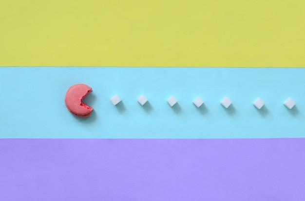 Eine komposition aus makronen mit offenem mund