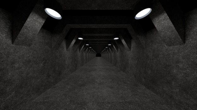 Eine konkrete korridorschablone mit beleuchtung für gebrauch als oberfläche