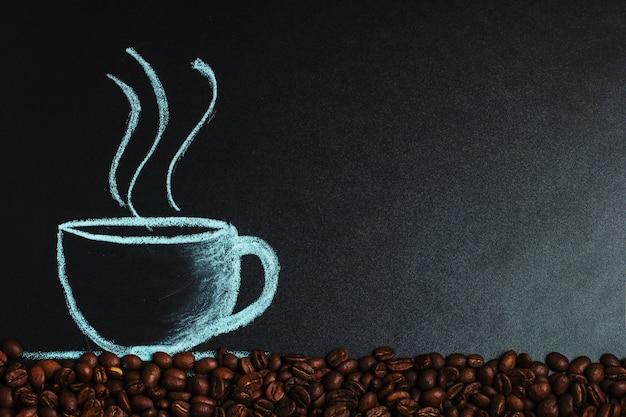 Eine kreide aus kaffeebohnen.