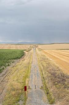Eine ländliche umgebung mit einem grünen radweg in segovia, spanien
