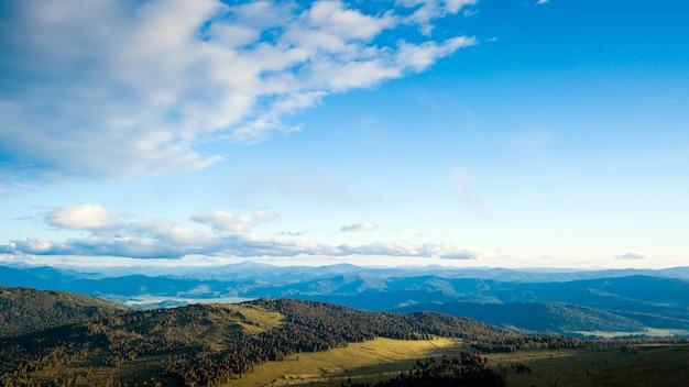 Eine landschaftsansicht des schönen frischen grünen waldes, der straße chui-fläche und des altai-gebirgshintergrundes.