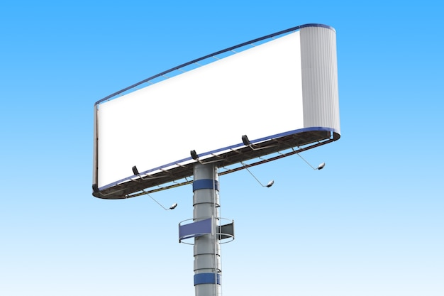 Eine leere horizontale werbetafel über blauem himmel