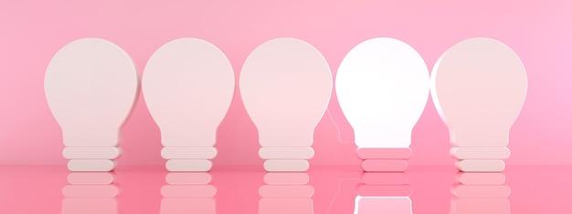 Eine leuchtende glühbirne, die sich von den unbeleuchteten glühbirnen auf rosa hintergrund abhebt, individualität und verschiedene kreative ideenkonzepte, 3d-rendering, panoramabild panoramic
