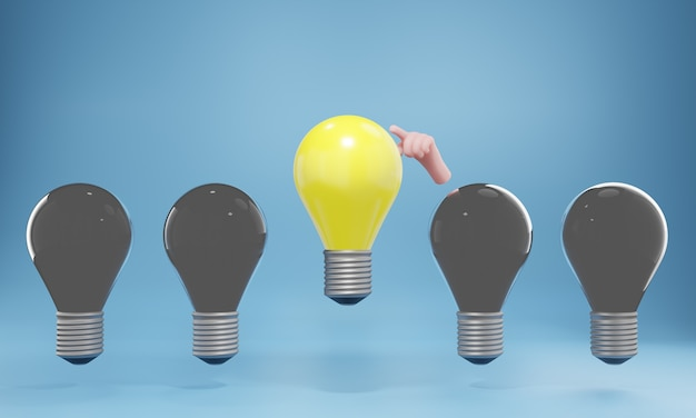 Eine leuchtende glühbirne hebt sich von den unbeleuchteten glühbirnen ab. kreatives ideen- und innovationskonzept, 3d-darstellung