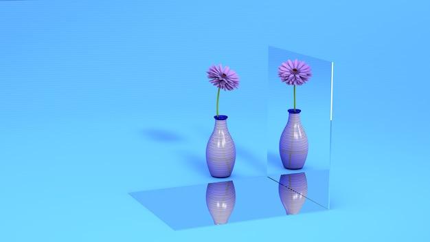 Eine lila blume in einem glas spiegelt sich auf dem spiegel