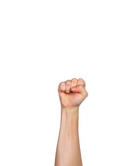Eine männliche hand, finger in der faust mit weißem hintergrund, raum für kopienraum