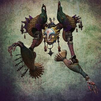 Eine marionette auf einem schmutzigen hintergrund. 3d-darstellung